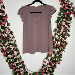 Caution to the Wind Womens Mauve Pink Blouse Med